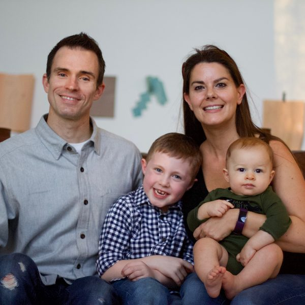 Embryo adoption parents Robert and Christy Spencer with their sons Noah and Kai.