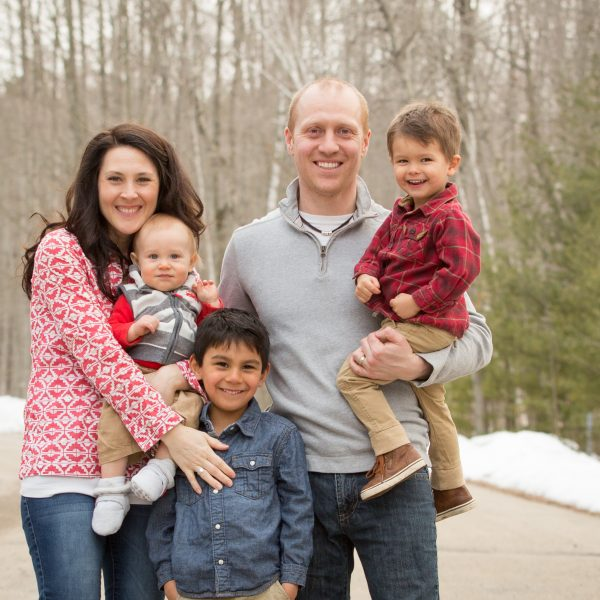 Embryo adoption parents Cam and Becca Sanford with their sons Rustin, Trey and Beau.